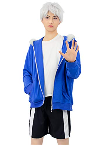 C-ZOFEK Sans Cosplay Blue Jacket Hoodie and Shorts (X-Large)