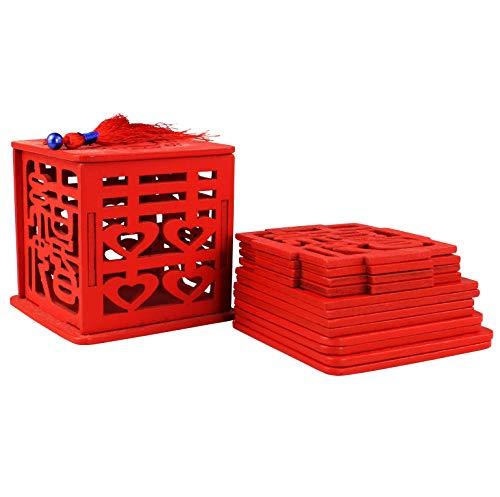 20pcs doble felicidad Vintage estilo chino de madera único caja de caramelos boda Favors titulares Hollow Boda caja de Candy