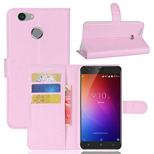 Owbb Hülle für Blackview E7 Ultra Schlanke Handyhülle Premium PU Ledertasche Flip Cover Wallet Case mit Stand Function Innenschlitzen Design Rosa