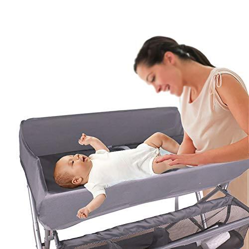 Table à Langer Portable avec Rangement, Organisateur De Pépinière pour Couches pour Le Nouveau-né, Économiser De l'espace (Gris)