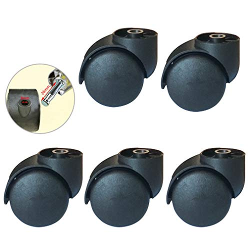 NIANXINN Roulette Silencieuse Noire sans Tige 2 Pouces,roulettes pour Meubles, Remplacement Accessoires Chaise Pivotante,pour roulettes Chaise De Bureau,5pcs,Matériau PU,Capacité150kg(Black)