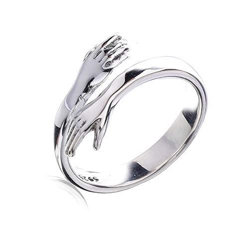 Chereda - Anillo abierto de plata con manos que abrazan, anillo romántico para...