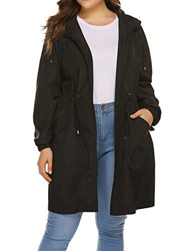 IN'VOLAND Women's Plus Size Rain Jacket Lightweight Long Raincoat Hooded Windbreaker Jackets with Pockets