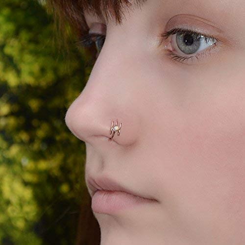 Amazon Com 2mm White Opal Nose Ring Gold Nose Hoop Tragus
