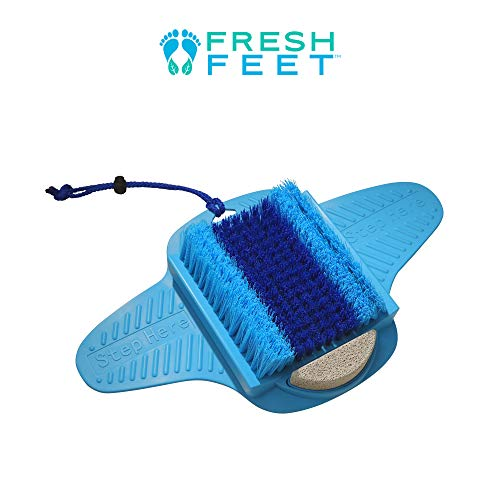 Fresh Feet- Foot Scrubber With Pumice Stone, Cleans, Smooths, Exfoliates & Massages your Feet Without Bending in the Shower or Bathtub