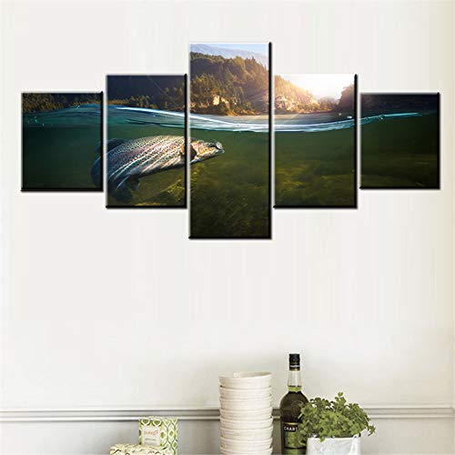 5 Piece Canvas Wall Art Fishing at Sunset Pictures Big Fish Paintings for Living Room Green Seascape Artwork Native Gift Rustic House Decor Wooden Framed Ready to Hang Poster and Prints(50''Wx24''H)
