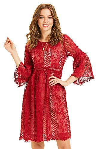 SONJA BETRO Women's Lace 3/4 Bell Sleeve Empire Waist Knee Length Party Dress 101BURGUNDY/X-Large