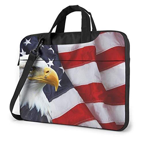 Laptop Shoulder Bag,Waving American Flag with Bald Eagle Shockproof Laptop Sleeve Cover Business Messenger Bag Briefcase Handbag Case 15.6 inch