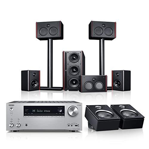 Teufel System 4 THX AVR für Dolby Atmos 5.1.2-Set Schwarz / Silber Heimkino Lautsprecher 5.1 Soundanlage Kino Raumklang Surround Subwoofer Movie
