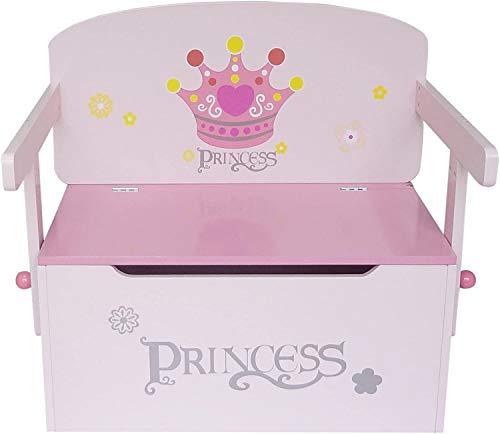 Kiddi Style Principesse Cassapanca Porta Giocattoli Convertibile in Tavolo con Sedia per bambini in Legno