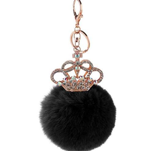schlüsselanhänger Damen plüsch Ball Taschenanhänger Strass Krone bommel Keychain Elegant Plüsch-Kugel Auto-Anhänger Pompom Weich Schlüsselring Multi-Farbe (Schwarz)