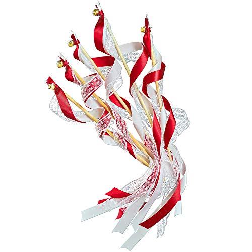 EinsSein 20x Wedding Wands Romantic rot Spalier Hochzeit Glücksstäbe Stäbe Spitze rund Kirche runde Holzstäbe Glöckchen Konfetti Standesamt Holz