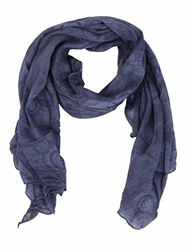 Cashmere Dreams Seiden-Tuch mit Paisley Muster - Hochwertiger Schal für Damen Mädchen - Halstuch - Umschlagstuch - Loop - weicher Schlauchschal für Sommer Herbst und Winter Zwillingsherz - navy