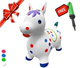 Bouncy Horse - ECO-Friendly - Animal Bouncing Horse Hopper Toy, Inflatable Ride on Jumping Bouncer for Kids (White)