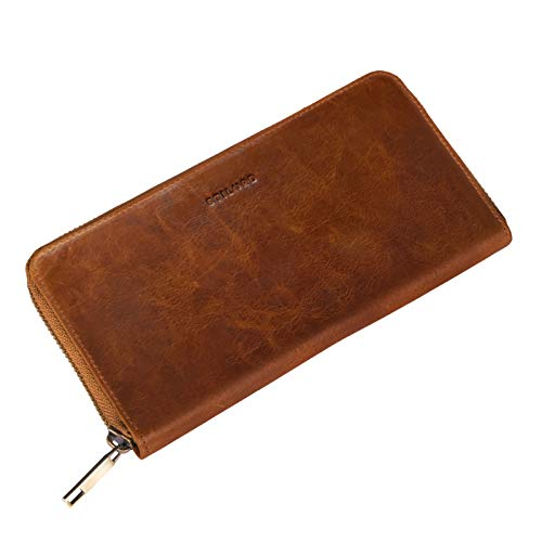 STILORD 'Emma' Leder Portemonnaie Damen RFID Schutz Geldbörse Damen RFID Blocker Querformat Brieftasche für EC-Karten Kleingeld mit Geschenkbox Echtleder, Farbe:Prestige - braun