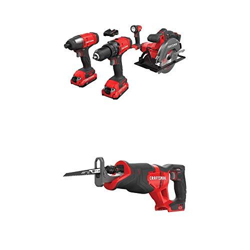 CRAFTSMAN Cordless Drill Combo Kit, 4 Tools & Reciprocating Saw (CMCK401D2 & CMCS300B)