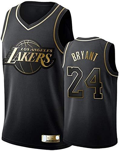 HFHDF Kobe Basketball Trikot Bryant Traning Jersey Los Sweatshirt Angeles Sports Lakers #24 Swingman Jersey Schwarz Gold - Icon Edition-XL