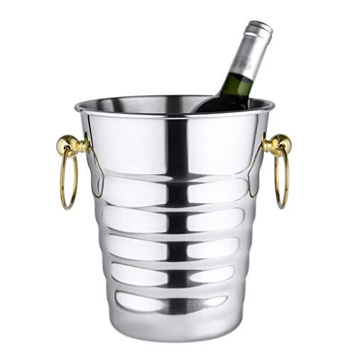 YATONG Cubitera Hielo de Acero Inoxidable con Mango de Orejas, Cubo de Hielo de Champán de Acero Inoxidable, Enfriador de Vino, para Bar en Casa, Cerveza Fría, Vino