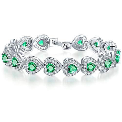 Pulsera para mujer, pulsera de corazón de amor infinito, chapada en plata, adornada con cristales