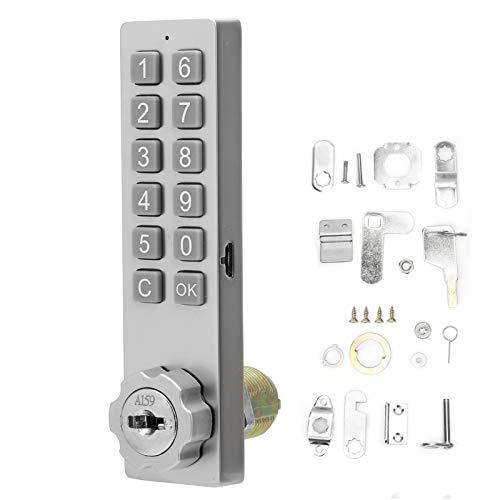 Lazmin112 Electronic Keypad Door Lock, Intelligent 1‑12 Digits Password Key Unlocking for Sauna File Cabinet Drawer, Low Battery Indication Emergency Power