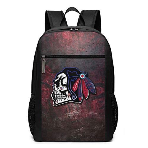 Chicago Skull Psychedelic Indian Schulrucksack für Teenager Mädchen Jungen Büchertasche Verstellbare Schultergurte Reißverschluss Laptop Taschen Reise Rucksäcke für Schule Camping Casual Daypack