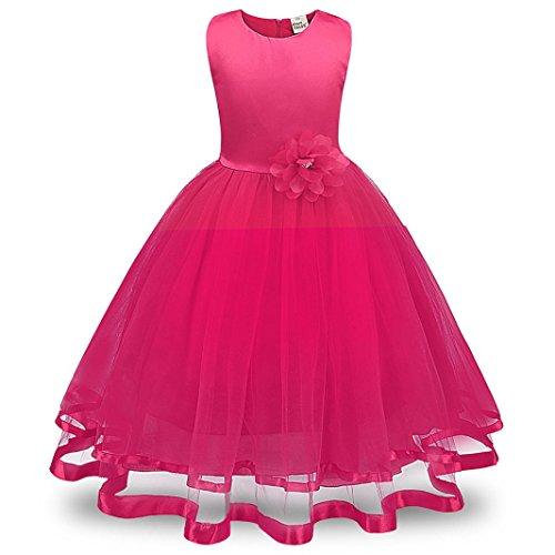 Xinan Mädchen Kleid Party Dress Kindermädchen Blume Mädchen Prinzessin Brautjungfer Festzug Tutu Tüll Gown Party Brautkleid Kleider Maxikleid Cocktailkleid (110, Hot Pink)