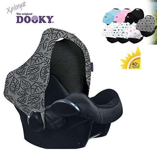 Original DOOKY HOODY ** Style UV+ ** Capote/Protège pare-soleil - universel pour siège auto Maxi-Cosi (Citi, Pebble, CabrioFix, Cabrio.), Römer, Cybex et autre (Grey Leaves)