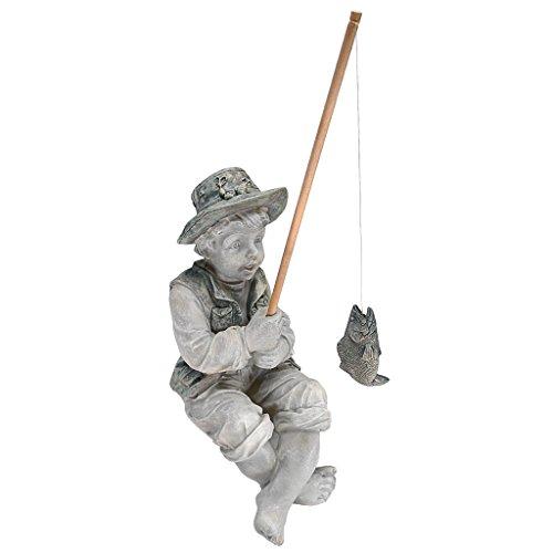 Design Toscano Junge Frederic mit Angel Figur, Maße: 38 x 24 x 17 cm
