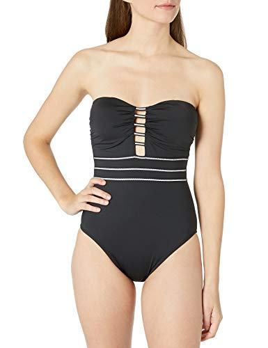 La Blanca Women's Bandeau One Piece Swimsuit, Black/White//Zig and Zag, 8
