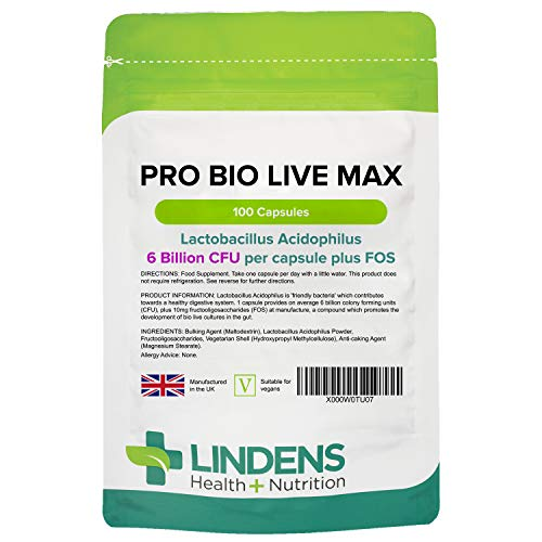 Lindens Pro Bio Live Max 6 billion CFU Capsules - Contributing to Healthy Gut and Supports Digestion - 100 Probiotic Vegetarian Capsules