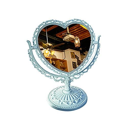 Benoon Espejo vanidad bancos de pie espejo cosmético funcional durable escritorio tipo antiguo vintage estilo europeo escritorio maquillaje espejo para maquillaje azul 2