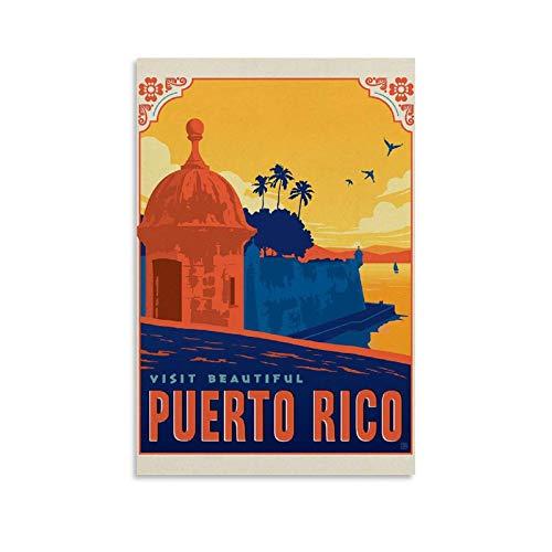 JINYOU Póster vintage de Puerto Rico, impresión artística de pared, impresión de...