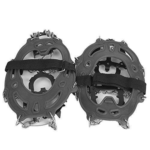 MAGT Steigeisen, 1 Paar Universal 14 Zähne Anti-Rutsch-Eisklampe Schuhgriffe Spikes Klampen Steigeisen zum Wandern Klettern(Grau)