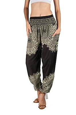 Joob Joob Women's Comfy Bohemian Tapered Elephant Harem Loose Yoga Travel Pajama Lounge Pants Onyx