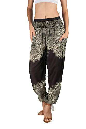 Joob Joob Women's Comfy Bohemian Tapered Elephant Harem Loose Yoga Travel Pajama Lounge Pants Onyx
