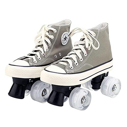 XRDSHY Rollschuhe for Women/Kids,Quad Skates Wheels Adults Adjustable Shoes with Wheels for Children Double Row Canvas Rollschuhe Damen Teenagers Roller Skating,Cyan-42
