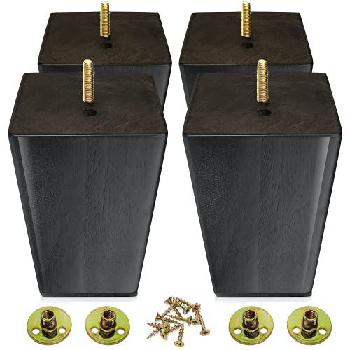Wood Furniture Legs 5 inch - Sofa Legs Set of 4 Square Couch Legs - Espresso Tapered Feet Replacement for Legs for Furniture or DIY Projects- Sofa Legs, Chair, Ottoman, Stool, Coffee Table, Bed, Etc.