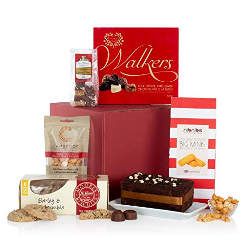 The Box of Treats - Food Hamper Gift - Chocolates, Cake, Nuts, Biscuits, Fudge and Nibbles
