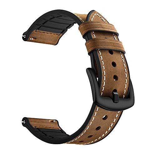 YOOSIDE Cinturino per Samsung Galaxy Watch 46mm/Gear S3 Classic, 22mm Cinturino di Ricambio Ibrido in Vera Pelle e Silicone con Fibbia in Acciaio Inossidabile per Samsung Galaxy Watch 46mm(Marrone)