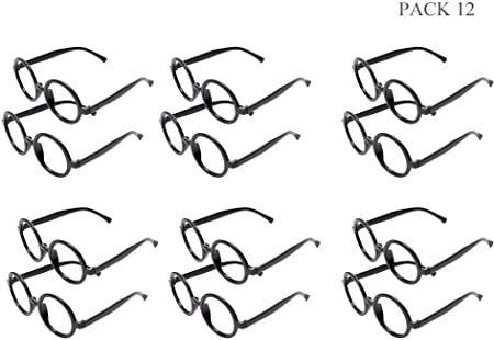 12 Gafas de Magos de Plástico Marco de Gafas Redondo en negro para una Fiesta de Harry Potter (Negro)