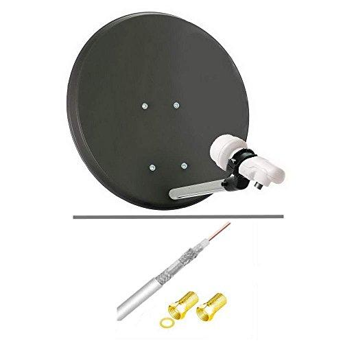 Komplett-Set: Mini Sat-Anlage 42 cm mit 0,1 dB Super-LNB, Anschluss-Set [10 m Koax Kabel 120 dB; 1x F Stecker für innen, 1x F Stecker mit Dichtung]; Für unterwegs, Camping, zu Hause; Für 1 Anschluss