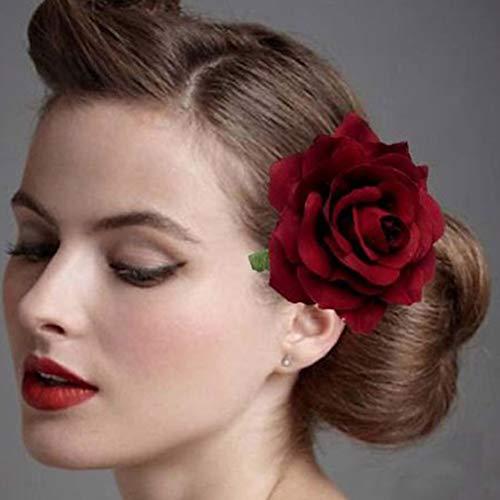Xiton Haarklammer vorzügliche Rose Hairwear 2 Stück künstliche Rose Blumen-Haarclips Seide Rose Blume Breastpin für DIY Wedding Bouquet-Dekor - weinrot