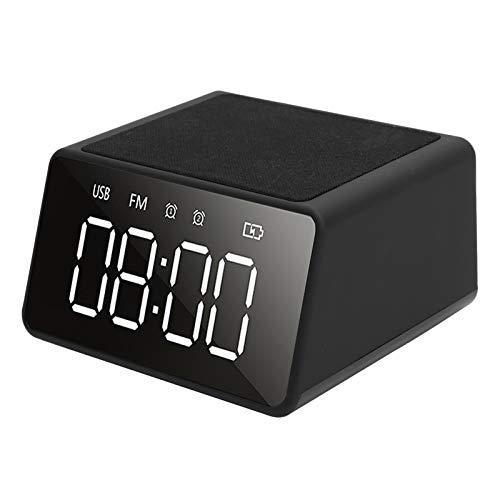 Reloj inalámbrico Bluetooth, altavoz portátil con un solo altavoz negro de 10 W, multifunción para oficina en casa