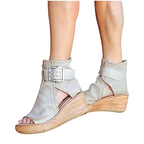 Sandalias Mujer Verano 2021 Nuevo Moda Elegante Zapatos de plataforma Cuña Zapatillas de Boca de Pescado Playa Sandalias de Punta Abierta casual Fiesta Roman Tacones Altos Sandalias