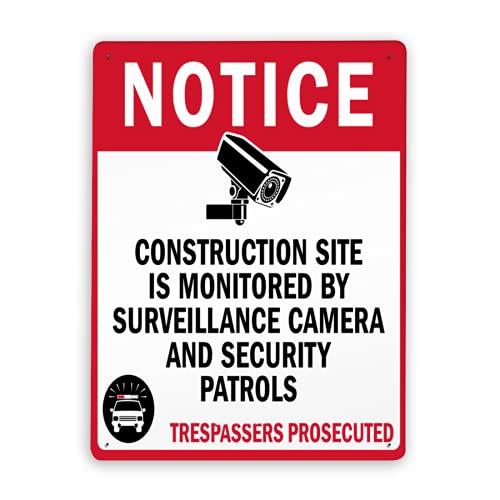 Señal de advertencia,Señal de aviso de seguridad El sitio de construcción está supervisado por una cámara de vigilancia,Señal de advertencia de tráfico de metal de aluminio de estaño 12x16 Inch