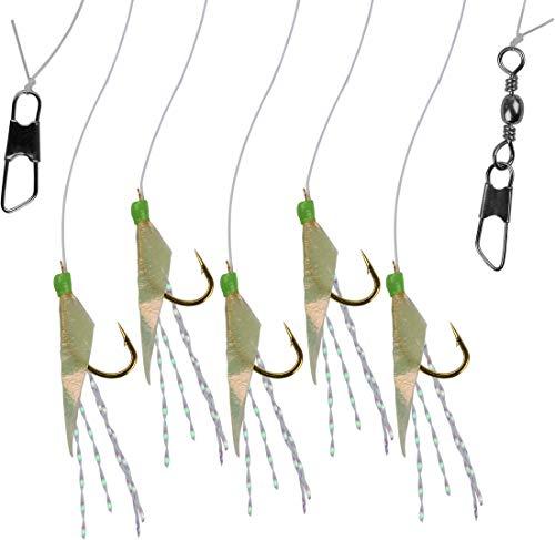 Storfisk fishing & more Heringspaternoster Heringsvorfach Glitzerfäden Echte Fischhaut 5 Arme Hakengr. 8