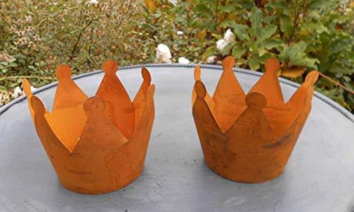 Dekokronen 2er-Set Windlicht Gartendeko Pflanztopf Übertopf Eisen Rost