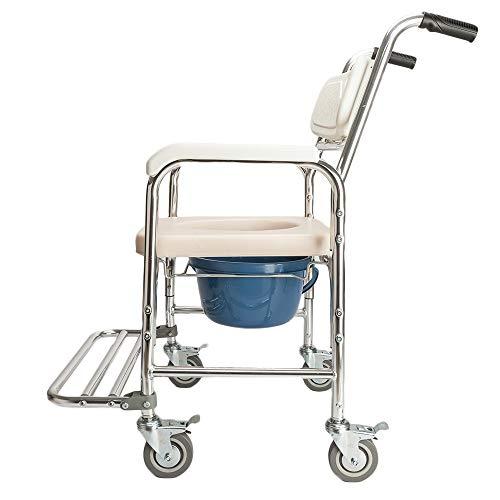 LWQ 4 in 1 Multifunktionale Aluminium Ältere Menschen Behinderte Schwangere Frauen Toilettenstuhl Badstuhl Weiß