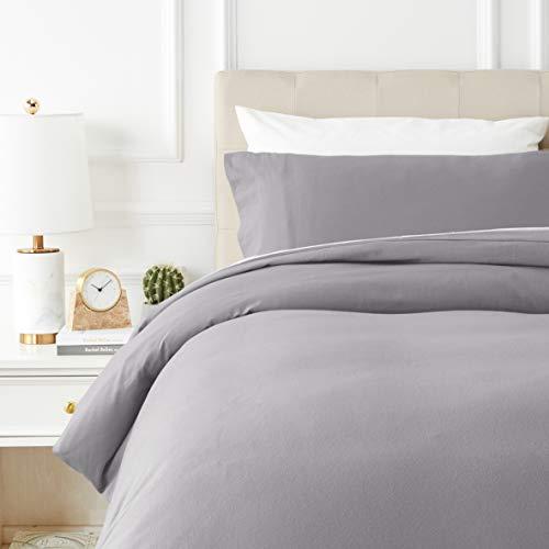 Amazon Basics - Juego de cama de franela con funda nórdica - 135 x 200 cm/50 x 80 cm x 1, Gris