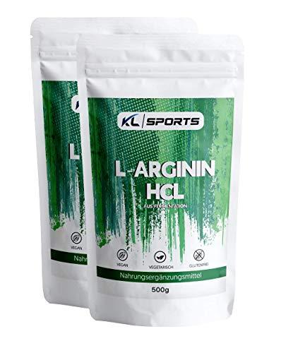 L-Arginin HCL Pulver 1kg - Arginin Hydrochlorid aus pflanzlicher Fermentation - 100% rein, vegan, ohne Zusätze, optimale Löslichkeit(2x500g)